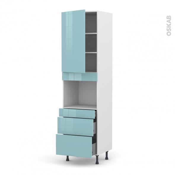 Colonne de cuisine N°2458 - Four encastrable niche 45  - KERIA Bleu - 1 porte 3 tiroirs - L60 x H217 x P58 cm