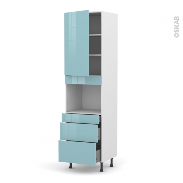 KERIA Bleu - Colonne Four niche 45 N°2458  - 1 porte 3 tiroirs - L60xH217xP58