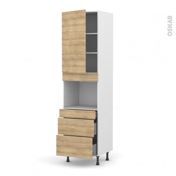 Colonne de cuisine N°2458 - Four encastrable niche 45  - HOSTA Chêne naturel - 1 porte 3 tiroirs - L60 x H217 x P58 cm