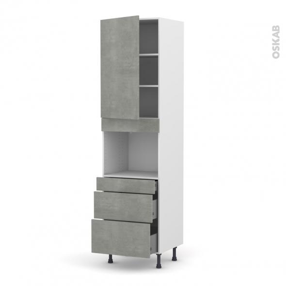 FAKTO Béton - Colonne Four niche 45 N°2458  - 1 porte 3 tiroirs - L60xH217xP58