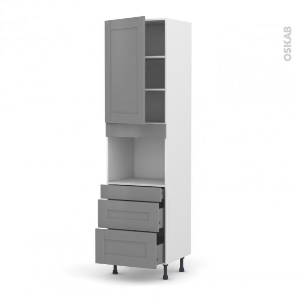 Colonne de cuisine N°2458 - Four encastrable niche 45  - FILIPEN Gris - 1 porte 3 tiroirs - L60 x H217 x P58 cm