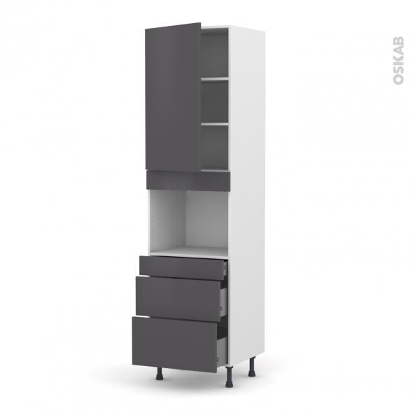 Colonne de cuisine N°2458 - Four encastrable niche 45  - GINKO Gris - 1 porte 3 tiroirs - L60 x H217 x P58 cm