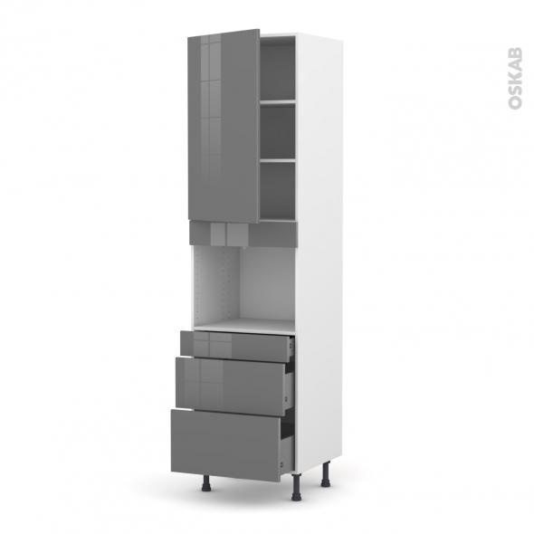 STECIA Gris - Colonne Four niche 45 N°2458  - 1 porte 3 tiroirs - L60xH217xP58