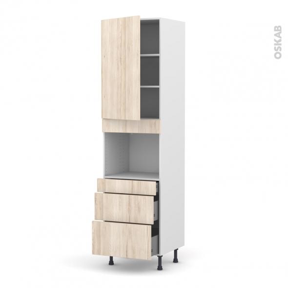 Colonne de cuisine N°2458 - Four encastrable niche 45  - IKORO Chêne clair - 1 porte 3 tiroirs - L60 x H217 x P58 cm