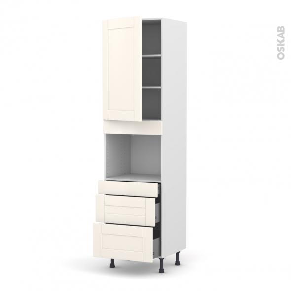 Colonne de cuisine N°2458 - Four encastrable niche 45  - FILIPEN Ivoire - 1 porte 3 tiroirs - L60 x H217 x P58 cm