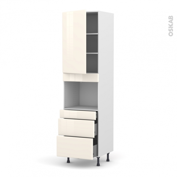 IRIS Ivoire - Colonne Four niche 45 N°2458  - 1 porte 3 tiroirs - L60xH217xP58