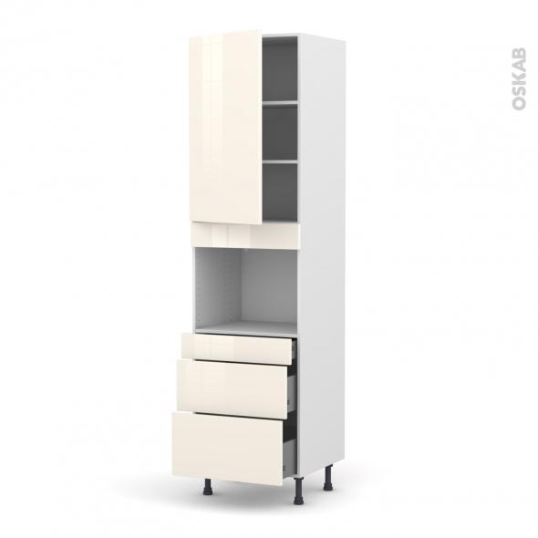 KERIA Ivoire - Colonne Four niche 45 N°2458  - 1 porte 3 tiroirs - L60xH217xP58