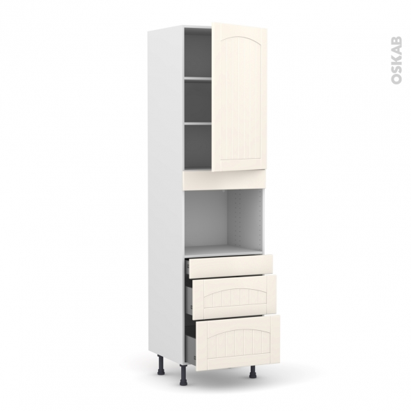 SILEN Ivoire - Colonne Four niche 45 N°2458  - 1 porte 3 tiroirs - L60xH217xP58 - droite