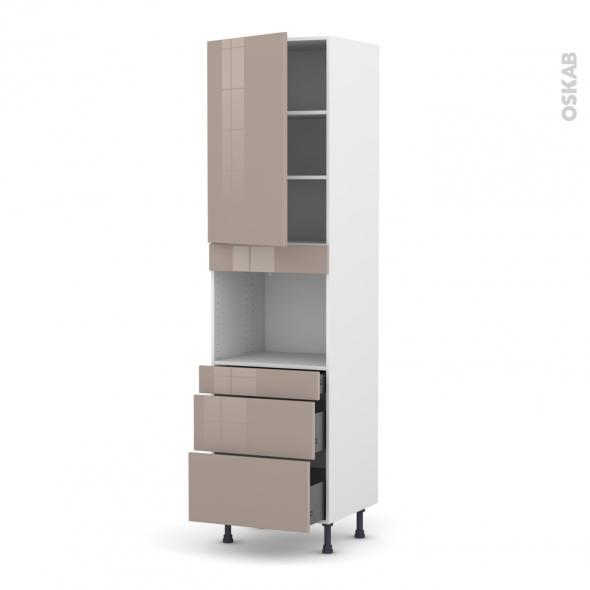 Colonne de cuisine N°2458 - Four encastrable niche 45  - KERIA Moka - 1 porte 3 tiroirs - L60 x H217 x P58 cm