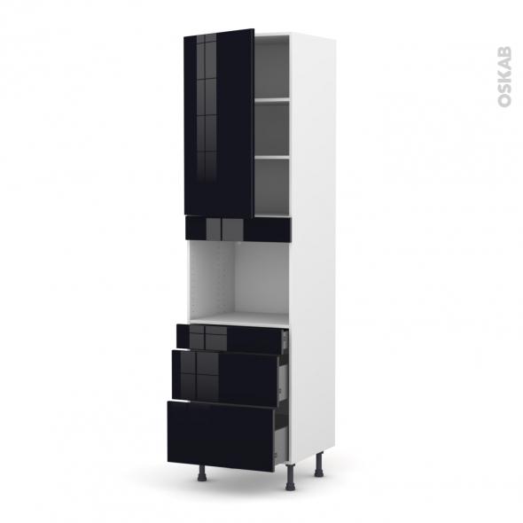 Colonne de cuisine N°2458 - Four encastrable niche 45  - KERIA Noir - 1 porte 3 tiroirs - L60 x H217 x P58 cm