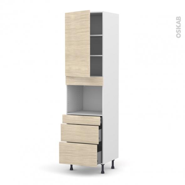 STILO Noyer Blanchi - Colonne Four niche 45 N°2458  - 1 porte 3 tiroirs - L60xH217xP58