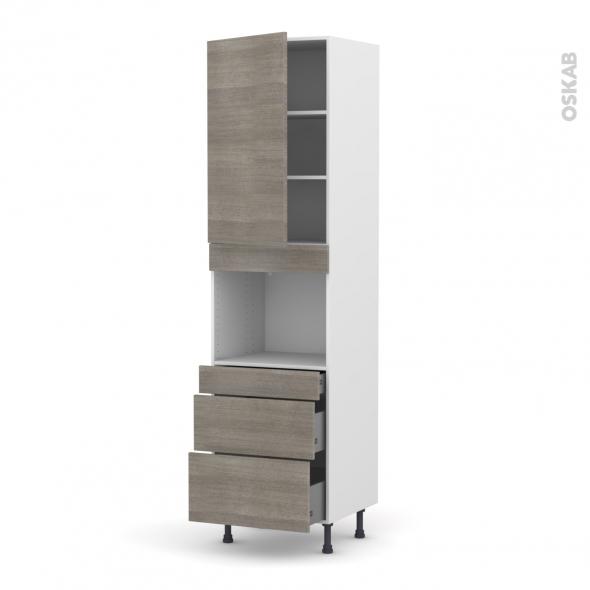 Colonne de cuisine N°2458 - Four encastrable niche 45  - STILO Noyer Naturel - 1 porte 3 tiroirs - L60 x H217 x P58 cm