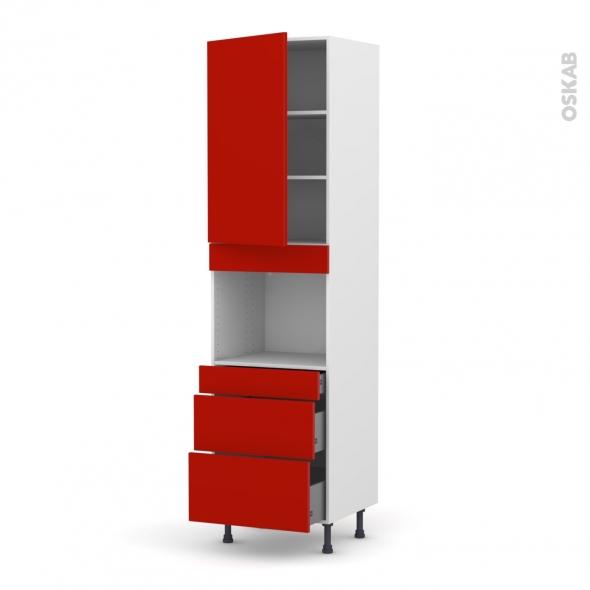 GINKO Rouge - Colonne Four niche 45 N°2458  - 1 porte 3 tiroirs - L60xH217xP58