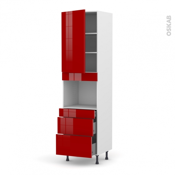 Colonne de cuisine N°2458 - Four encastrable niche 45 - STECIA Rouge - 1 porte 3 tiroirs - L60 x H217 x P58 cm