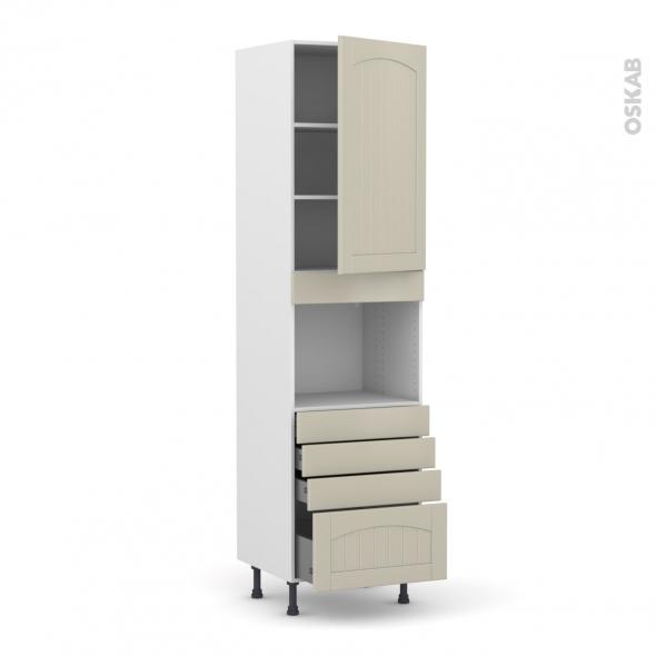 SILEN Argile - Colonne Four niche 45 N°2459  - 1 porte 4 tiroirs - L60xH217xP58 - droite
