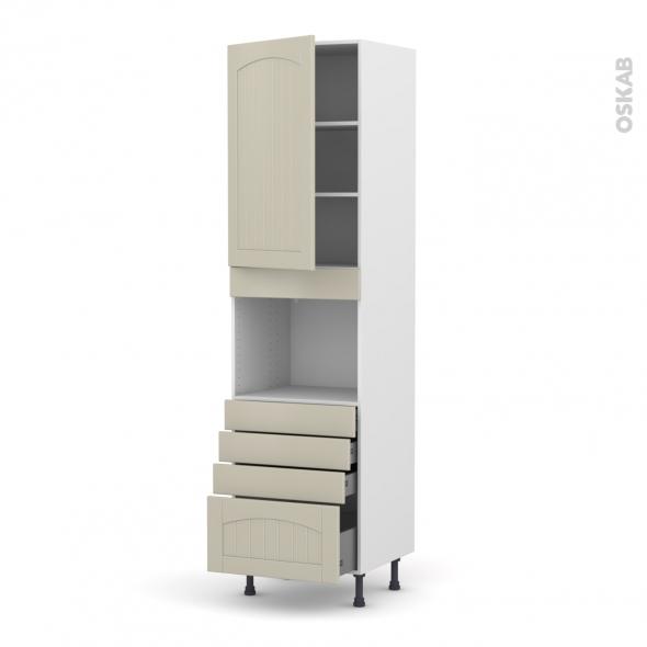 SILEN Argile - Colonne Four niche 45 N°2459  - 1 porte 4 tiroirs - L60xH217xP58 - gauche