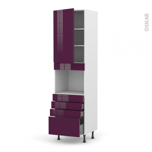 Colonne de cuisine N°2459 - Four encastrable niche 45 - KERIA Aubergine - 1 porte 4 tiroirs - L60 x H217 x P58 cm
