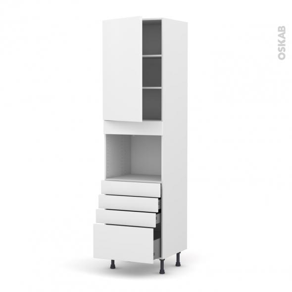 Colonne de cuisine N°2459 - Four encastrable niche 45  - GINKO Blanc - 1 porte 4 tiroirs - L60 x H217 x P58 cm