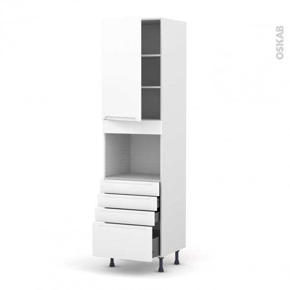 Colonne de cuisine N°2459 - Four encastrable niche 45  - PIMA Blanc - 1 porte 4 tiroirs - L60 x H217 x P58 cm