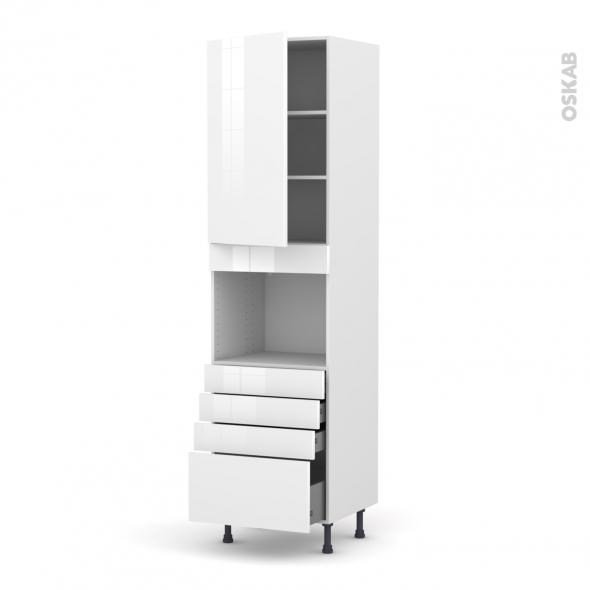 STECIA Blanc - Colonne Four niche 45 N°2459  - 1 porte 4 tiroirs - L60xH217xP58
