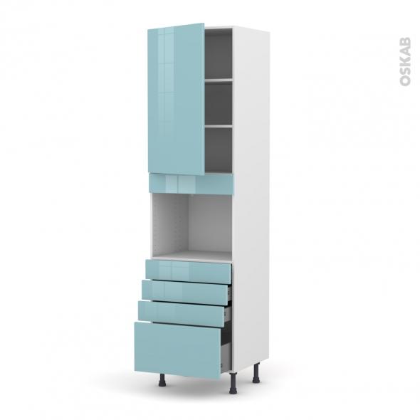 Colonne de cuisine N°2459 - Four encastrable niche 45  - KERIA Bleu - 1 porte 4 tiroirs - L60 x H217 x P58 cm