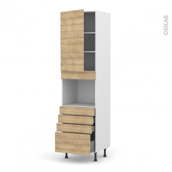 Colonne de cuisine N°2459 - Four encastrable niche 45  - HOSTA Chêne naturel - 1 porte 4 tiroirs - L60 x H217 x P58 cm