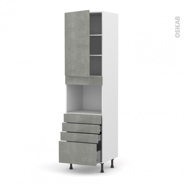 Colonne de cuisine N°2459 - Four encastrable niche 45  - FAKTO Béton - 1 porte 4 tiroirs - L60 x H217 x P58 cm