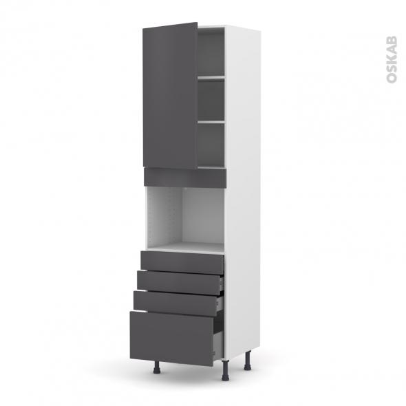 Colonne de cuisine N°2459 - Four encastrable niche 45  - GINKO Gris - 1 porte 4 tiroirs - L60 x H217 x P58 cm