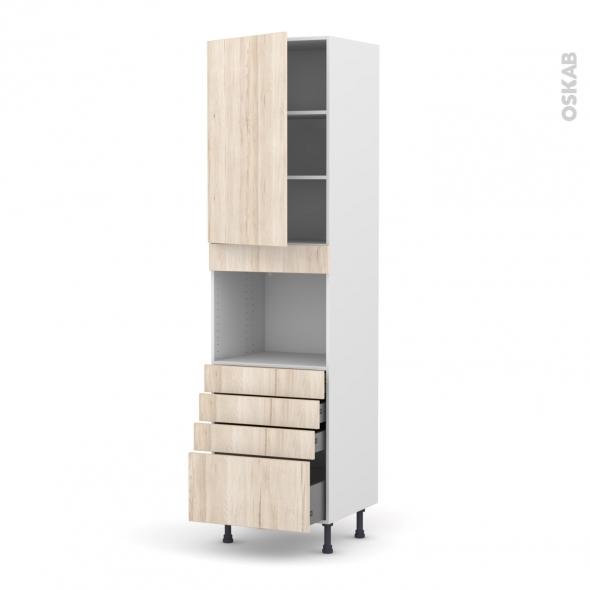 Colonne de cuisine N°2459 - Four encastrable niche 45  - IKORO Chêne clair - 1 porte 4 tiroirs - L60 x H217 x P58 cm