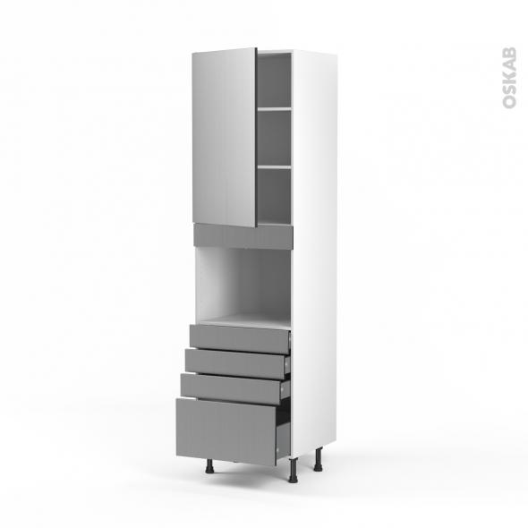 STILO Inox - Colonne Four niche 45 N°2459  - 1 porte 4 tiroirs - L60xH217xP58