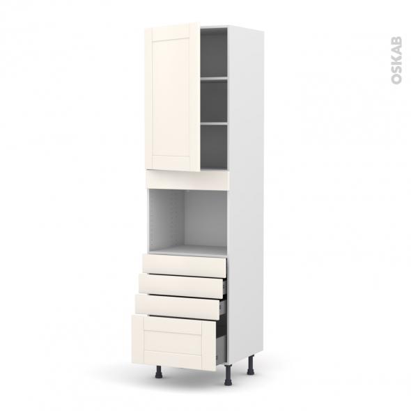 Colonne de cuisine N°2459 - Four encastrable niche 45  - FILIPEN Ivoire - 1 porte 4 tiroirs - L60 x H217 x P58 cm