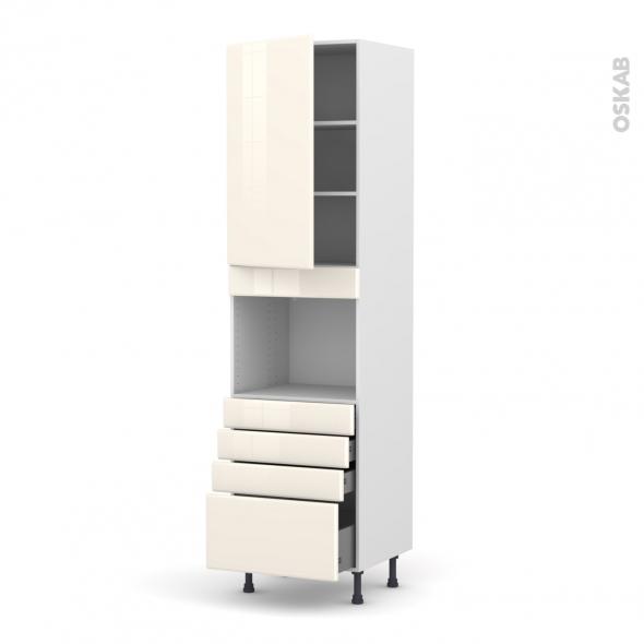 IRIS Ivoire - Colonne Four niche 45 N°2459  - 1 porte 4 tiroirs - L60xH217xP58
