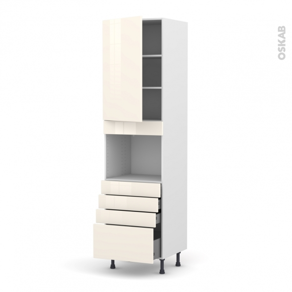 Colonne de cuisine N°2459 - Four encastrable niche 45  - KERIA Ivoire - 1 porte 4 tiroirs - L60 x H217 x P58 cm