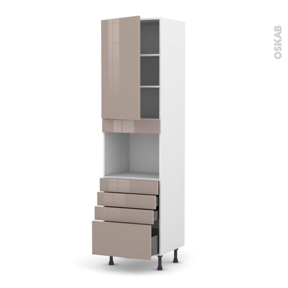 Colonne de cuisine N°2459 - Four encastrable niche 45  - KERIA Moka - 1 porte 4 tiroirs - L60 x H217 x P58 cm