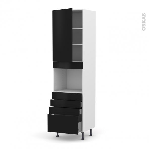 Colonne de cuisine N°2459 - Four encastrable niche 45  - GINKO Noir - 1 porte 4 tiroirs - L60 x H217 x P58 cm