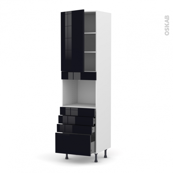 Colonne de cuisine N°2459 - Four encastrable niche 45  - KERIA Noir - 1 porte 4 tiroirs - L60 x H217 x P58 cm