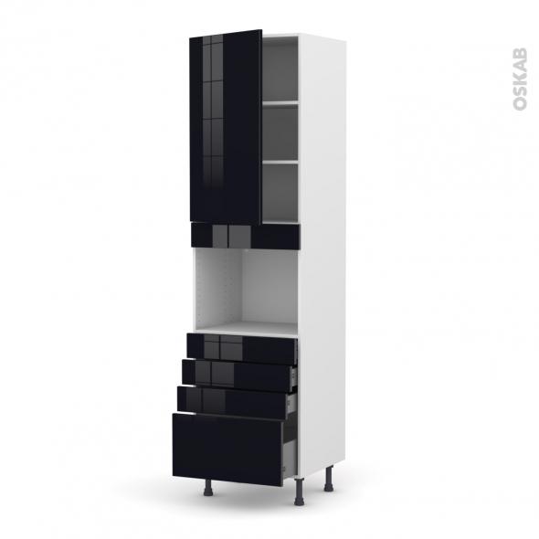 KERIA Noir - Colonne Four niche 45 N°2459  - 1 porte 4 tiroirs - L60xH217xP58