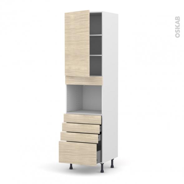 Colonne de cuisine N°2459 - Four encastrable niche 45  - STILO Noyer Blanchi - 1 porte 4 tiroirs - L60 x H217 x P58 cm