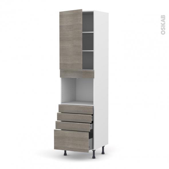 Colonne de cuisine N°2459 - Four encastrable niche 45  - STILO Noyer Naturel - 1 porte 4 tiroirs - L60 x H217 x P58 cm