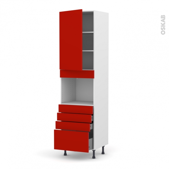 GINKO Rouge - Colonne Four niche 45 N°2459  - 1 porte 4 tiroirs - L60xH217xP58