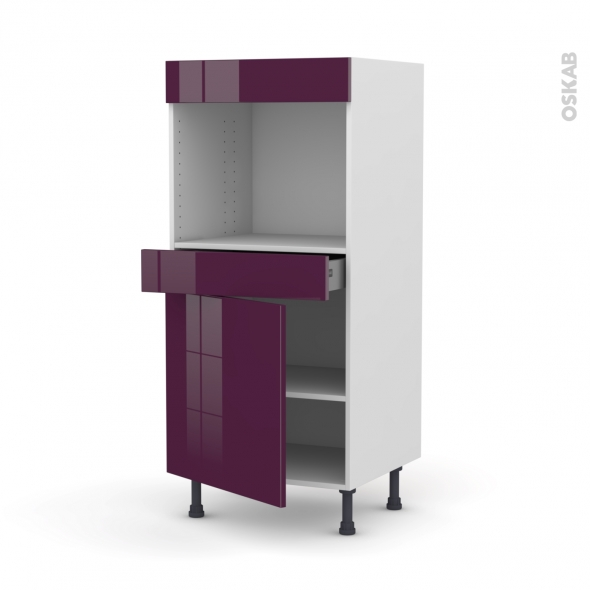Colonne de cuisine N°56 - Four encastrable niche 45 - KERIA Aubergine - 1 porte 1 tiroir - L60 x H125 x P58 cm