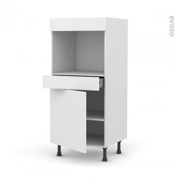 GINKO Blanc - Colonne Four niche 45 N°56  - 1 porte 1 tiroir - L60xH125xP58