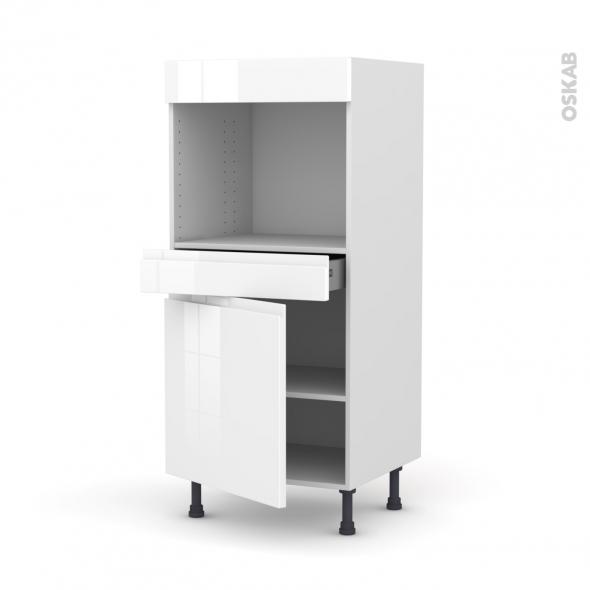 Colonne de cuisine N°56 - Four encastrable niche 45  - IPOMA Blanc brillant - 1 porte 1 tiroir - L60 x H125 x P58 cm