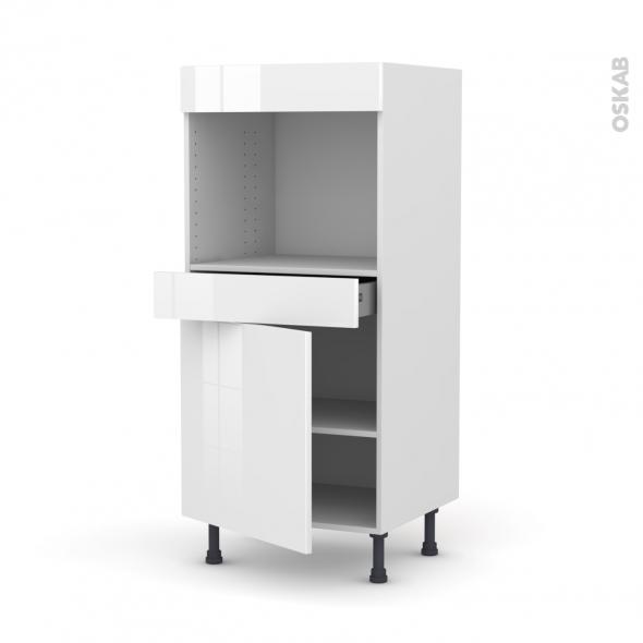 STECIA Blanc - Colonne Four niche 45 N°56  - 1 porte 1 tiroir - L60xH125xP58