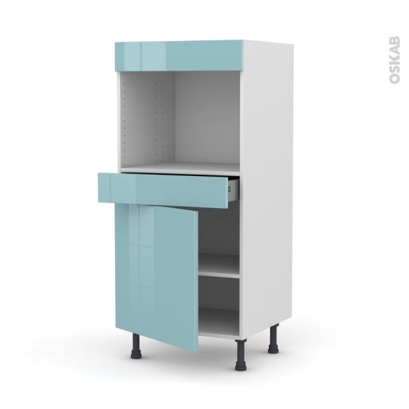 Colonne de cuisine N°56 - Four encastrable niche 45  - KERIA Bleu - 1 porte 1 tiroir - L60 x H125 x P58 cm