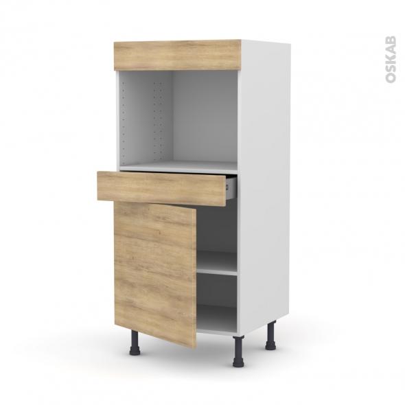 Colonne de cuisine N°56 - Four encastrable niche 45  - HOSTA Chêne naturel - 1 porte 1 tiroir - L60 x H125 x P58 cm