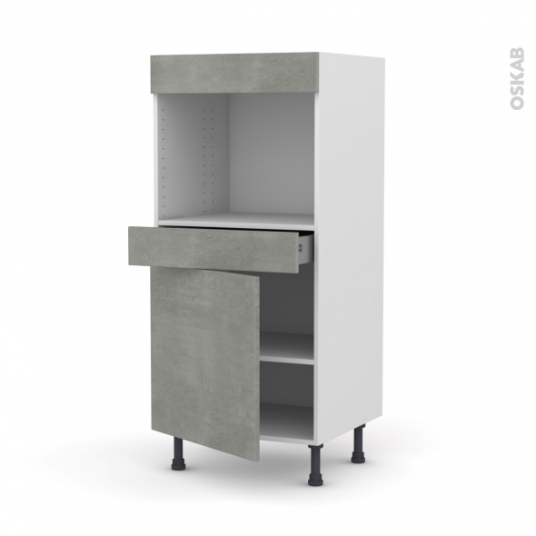 Colonne de cuisine N°56 - Four encastrable niche 45  - FAKTO Béton - 1 porte 1 tiroir - L60 x H125 x P58 cm