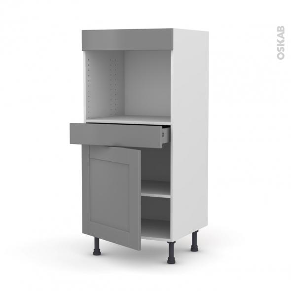 Colonne de cuisine N°56 - Four encastrable niche 45  - FILIPEN Gris - 1 porte 1 tiroir - L60 x H125 x P58 cm