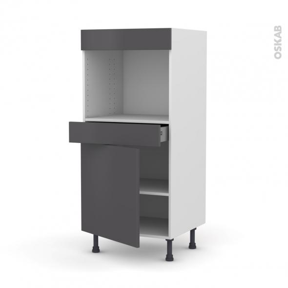 Colonne de cuisine N°56 - Four encastrable niche 45  - GINKO Gris - 1 porte 1 tiroir - L60 x H125 x P58 cm