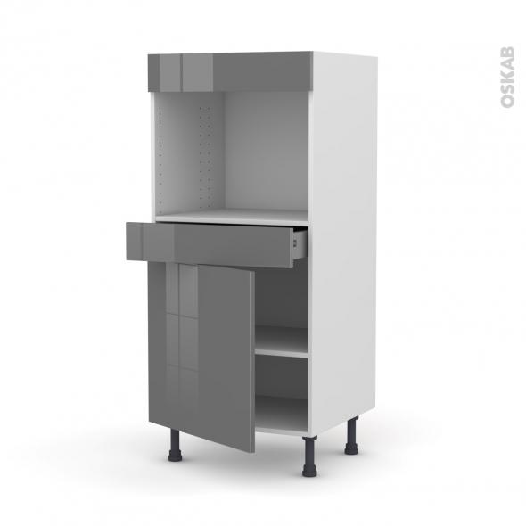 Colonne de cuisine N°56 - Four encastrable niche 45  - STECIA Gris - 1 porte 1 tiroir - L60 x H125 x P58 cm